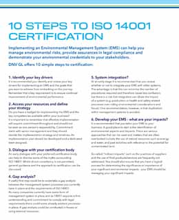 10 steps to ISO 14001 Certification