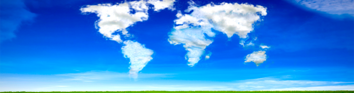 Continents of the world in clouds over a green field for ISO 14001:2004 EMS Auditor and Lead Auditor course
