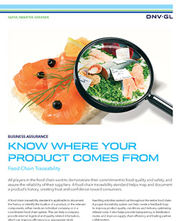 Food Chain Traceability - certification by DNV GL