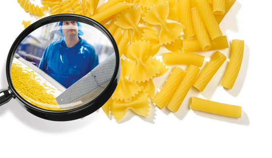 Pasta under a magnifying glass as Link image for ISO 22000:2015 FMS Auditor/Lead Auditor