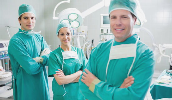Doctors standing assuredly in the OR as Link Image to Healthcare customer video wall