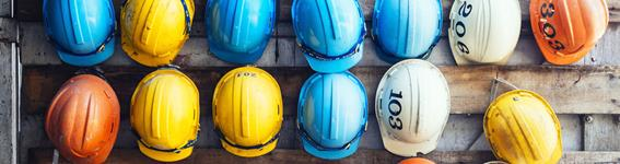 Row of hard hats
