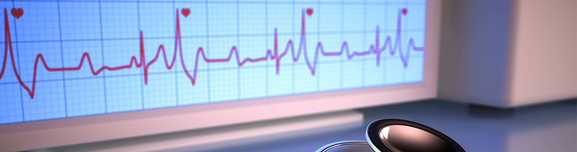 Stethoscope and heart rate monitor as banner image for Heart Failure Certification Program Image