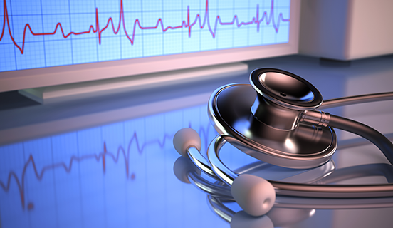 Stethoscope and heart rate monitor as link image for Heart Failure Certification Program Image