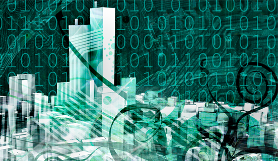 A digitally crafted city amid a binary code background as Link Image for OnDemand Webinars