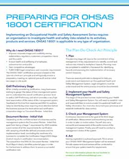 Preparing for OHSAS 18001 Certification
