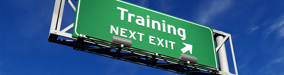 Exit sign for Training as Banner Image for Risk Management Training Course