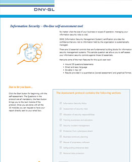 Self assessment tool on e-learning screenshot